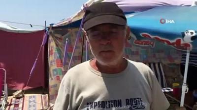 Tatilciler akın etti, Saros sahilleri çadır kente döndü