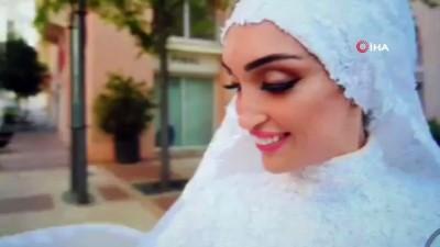- Beyrut'ta bir çift düğün fotoğrafı çektirdiği sırada patlamaya yakalandı