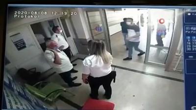 Hastanede kadın güvenlik görevlisine yumruklu saldırı kamerada