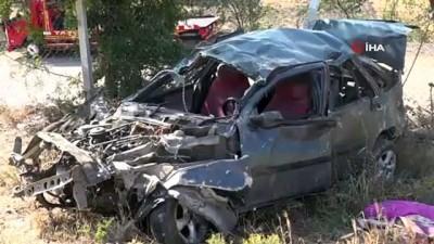 direksiyon -  Bir aileyi trafik canavarı ayırdı...Amasya'da otomobil 50 metrelik uçurama yuvarlandı: 1 ölü, 2 yaralı