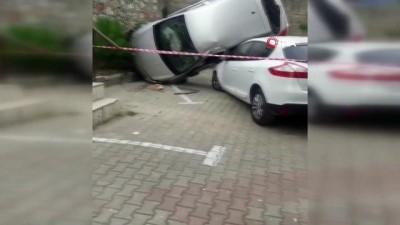 tahkikat -  Otomobil istinat duvarından başka aracın üstüne uçtu