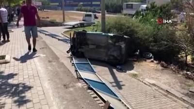 Takla atan araç sürücüsü yaralandı
