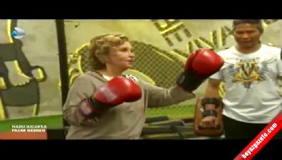 Nazlı Ilıcak, Sadettin Saran ile kick boks yaptı