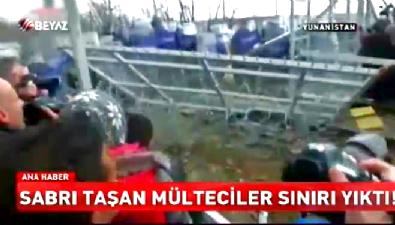 Sabrı taşan mülteciler sınırı yıktı