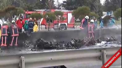 Büyükçekmece'de helikopter düştü... Olay yerinden ilk görüntüler