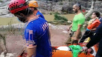 kayali -  Tırmandığı kayalıklardan düşerek yaralanan şahsı AFAD ekipleri kurtardı