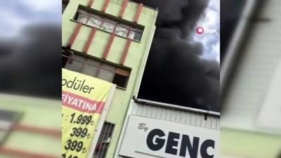 Polyester üretilen iş yerinde korkutan yangın: 4 kişi dumandan etkilendi