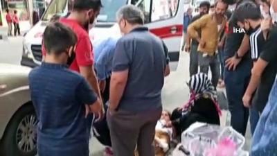 Sultanbeyli'de otomobil çarpan üç kız çocuğun şans eseri kurtuluşu kamerada