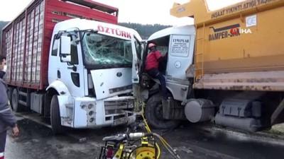 Bolu'da kamyonlar kafa kafaya çarpıştı: 2 yaralı