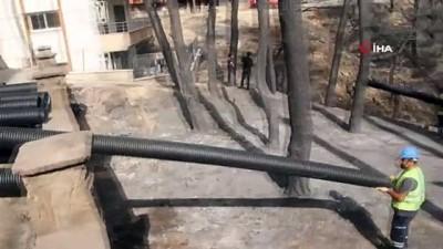 Hatay'daki yangın bölgesinde altyapı çalışmaları