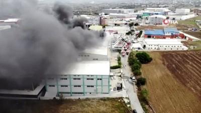 fabrika -  Sünger fabrikasındaki yangın drone ile görüntülendi
