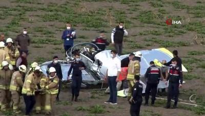 ambulans helikopter -  Büyükçekmece'de düşen uçağın genç pilotu hayatını kaybetti