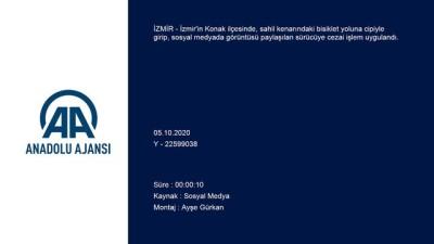 İzmir Kordon'da bisiklet yoluna giren cipe cezai işlem uygulandı