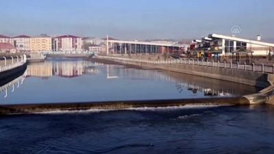 AĞRI - Doğu'da soğuk hava nedeniyle dereler ile araç ve evlerin camları buz tuttu