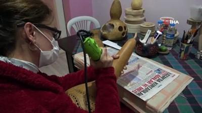 halk egitim -  Hobi olarak başladı, taleplere yetişemiyor...Su kabaklarını sanat eserine dönüştürüyor