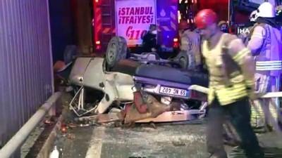 demir parmaklik -  Avcılar'da otomobil köprüden uçtu: 1'i ağır 3 yaralı