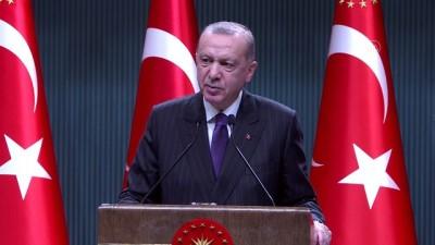 ANKARA - Cumhurbaşkanı Erdoğan: 'Sokağa çıkma sınırlaması 31 Aralık Perşembe saat 21.00'den 4 Ocak Pazartesi saat 05.00'e kadar kesintisiz uygulanacaktır'