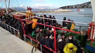 200'ün üzerinde göçmeni taşıyan gemi yakalandı