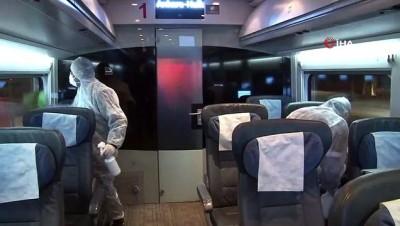 yuksek hizli tren -  Yüksek Hızlı Trenler titizlikle dezenfekte ediliyor