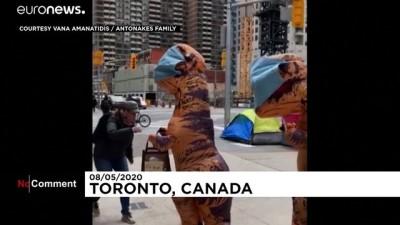 dinozor - Kanada'da 'anne ve yavru dinozor' halka maske dağıttı