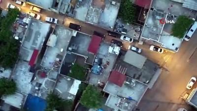 Adana'da  40 adrese eş zamanlı uyuşturucu operasyona havadan görüntülendi