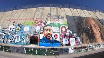 portre - George Floyd'un resmi Batı Şeria'daki Ayrım Duvarı'na çizildi
