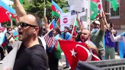 helikopter kaza -  - Azerbaycanlılardan Ermenistan'ın Washington Büyükeçiliği önünde protesto