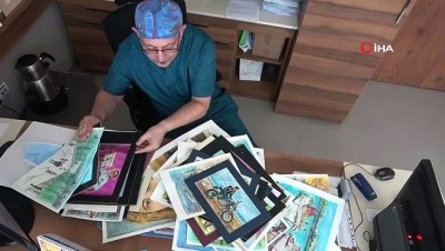 portre -  Ressam doktor stresini resim yaparak atıyor
