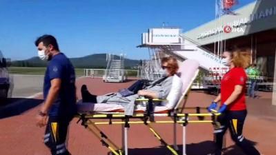ambulans ucak -  Anjiyo olan hasta Alman hava ambulans uçağı ile alındı