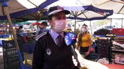 maske dagitimi -  Ankara Büyükşehir Belediyesi'nden pazarcı esnafına maske ve siperlik desteği