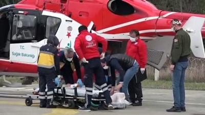 ambulans helikopter -  Samsun'da beyin kanaması geçiren hastanın yardımına ambulans helikopter yetişti