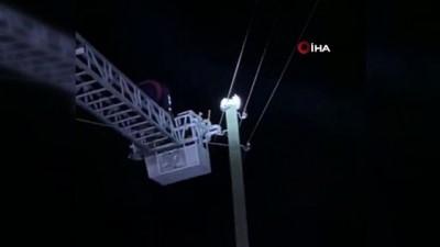 Elektrik direğinde mahsur kalan kediyi itfaiye ekipleri kurtardı