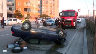 Kontrolden çıkan otomobil ağaca çarptıktan sonra takla attı: 2 yaralı