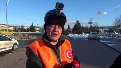 İstanbul'dan Ankara'ya pedal çeviren işçi, Düzce'ye ulaştı