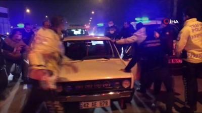Polis ile alkollü sürücü arasında yaşanan kovalamaca kamerada
