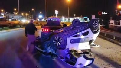 Takla atarak hurdaya dönen araçtan hafif yaralı kurtuldu