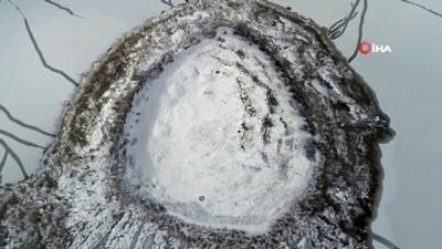 ilginc goruntu -  Karla kaplı Pılır Höyüğünde ilginç görüntü