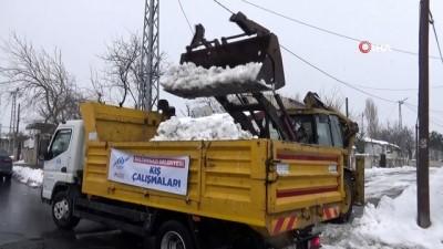 kar kureme araci -  Ekipler tarafından toplanan kamyon kamyon kar Alibeyköy Barajı çevresine dökülüyor