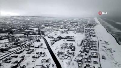 ali il -  Karadeniz'in hırçın dalgaları karla buluşunca seyrine doyumsuz görüntüler ortaya çıktı