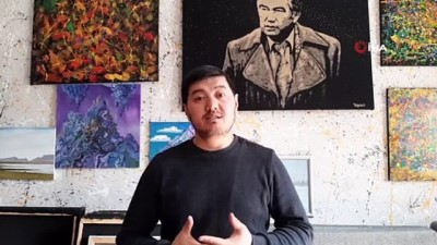 edebiyat -  - Kırgız ressam yoğurtla portre çizdi
