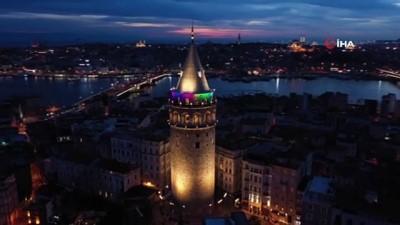 ilginc goruntu -  Galata Kulesi'ne rengarenk ışıklandırma