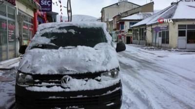bahar havasi -  Karlıova'da bahar havası yerini kar yağışına bıraktı