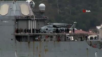 askeri helikopter -  ABD savaş gemisi 'USS Monterey' İstanbul Boğazı geçişti