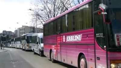 yolcu otobusu -  - Kosova'da otobüs konvoylu protesto eylemi