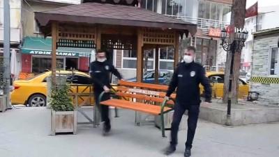 Sinop'ta korona önlemleri: Banklar kaldırıldı