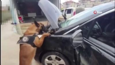 Otomobilin çamurluklarına zulaladıkları uyuşturucuyu narkotik köpekten saklayamadılar