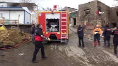 Sağlık ekipleri, yangından etkilenen kuzuları oksijen maskesiyle hayata bağladı