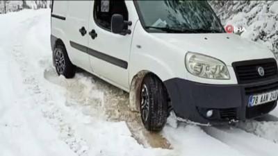 Karabük'te yüksek kesimlerde kar kalınlığı 20 santime ulaştı