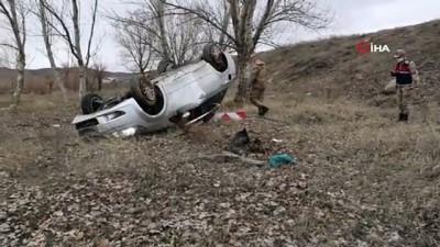 agir yarali -  Otomobil tarlaya uçtu: 2 ağır yaralı