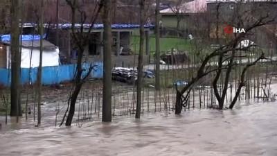 Sağanak yağış nedeni ile debisi yükselen Habur Çayı'nın civarındaki evler tehlike altında